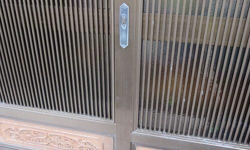 玄関引戸 引違戸錠 交換 宜野湾市