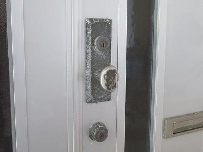 アパートの玄関ドアのカギ GOALからMIWAへ交換 北中城村